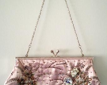 pink beaded purse, pink beaded bag, rhinestone handbag, pink embroidered purse, pink clutch bag