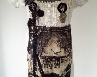 Couture dress, vintage inspired dress, handmade dress, hand embellished, grey upcycled dress, evening dress., party dress