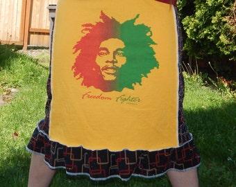 SALE Bob Marley Sparkle Freedom Fighter T Skirt One Love Festival Hippie Rasta OOAK