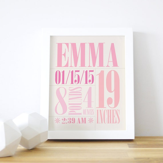 8x10 Personalized Art Print Baby Nursery Kids Room Pink Girls 16x20 Framed White Frame Poster Letters Name Stats. Custom Birth Print