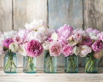 Floral Photograph -  Peonies, Roses and Ranunculus in Jars, Romantic Floral Decor, Large Wall Art, Home Decor
