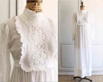 70s white gauze crochet victorian dress maxi casual wedding small