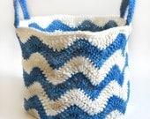 Chevron Basket - PDF Crochet Pattern - Instant Download