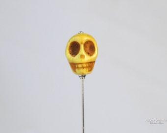 Skull Stick Pin, Yellow Stone Skull, S0106