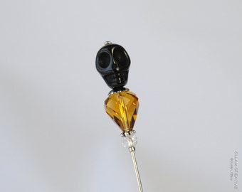 Skull Stick Pin, Black, Amber, Topaz, Preciosa Crystal, Hat Pin, Lapel Pin, Scarf Pin, Steampunk S0115