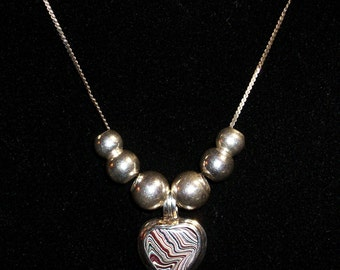 Sterling Silver Necklace, feat. Reversible, Heart Pendant - Upcycled with a heart-shaped Fordite Cabochon + 6 Sterling beads ~ mrfeld ~ FP17