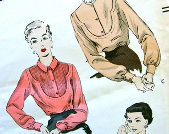 1950s  Vogue Pattern 6984   - BEAUTIFUL Bib Front Style Blouses * Three Styles     //  Bust 36 * Size 18 * FACTORY FOLDED