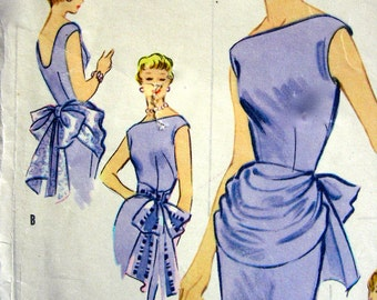 RARE * 1950's McCalls  Pattern 3223  - FABULOUS Misses' Accessory Dress: Draped Peplum, Bustle or Sash * UNCUT * Size 12