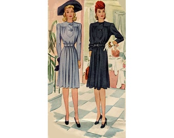 1940s Maternity Dress Pattern Expandable Front Long Push Up Sleeves Yoked Button Front McCall 131 Bust 34 Vintage Sewing Pattern