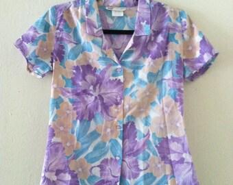 80's Girly Hawaiian Blouse