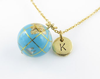Globe Necklace, Blue Globe Charm, Initial Necklace, Monogram Charm, Personalized, Travel Charm Necklace, Earth Charm Z254