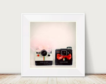Just Married Fine Art Print -- Wedding Valentines Day Vintage Cameras Bride Groom Home Decor Wholesale