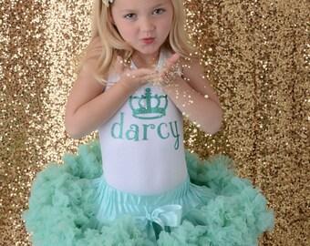 Birthday Princess Shirt, Personalized Princess Crown Shirt, Girls Glitter Birthday Shirt, Gold Sparkle Shirt