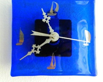 Sail On, Fused Glass Wall or Desk Clock, Original Art Piece, Signed, CG16