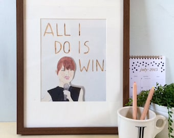All I do is WIN emma stone the tonight show Watercolor print