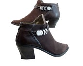 Boho Italian Brown Suede and Leather Ankle Booties // Women Size 71/2 US // Leather Braid, Lacing // Metal Moon Embellishments // Hip Cosmic