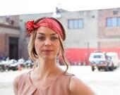 Coral Silk Headband, Silk Head Wrap, Red Headpiece, Summer Headband, Bohemian Headband, Boho Headband