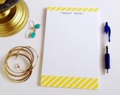 Teacher Gift | Notepad | Happy Notes | Yellow Striped To Do List | Desk Pad | Note pad | Tablet
