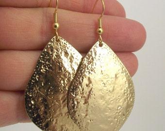Large Golden Textured Drop Earrings, Gold Earrings, Organic Earrings