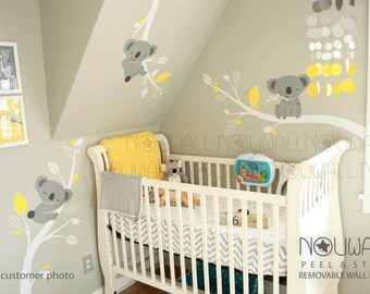 Removable Grey Koala Bear wall decal on branches Animal , Nursery Baby Wall Decals -  wall sticker - Wallpaper