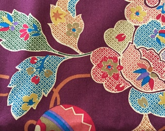 SALE - 70's Chinoiserie Jaco/Lively Multi Tones on Oxblood Ground/ Patchwork Ornaments, Flowers and Trail of Delicate Vines/Screen Print/OP
