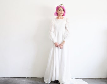 stunning bohemian wedding gown . white pin tuck bridal dress .extra small.small.xs .disaster relief .sale