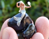 Tiny Terrarium People Fairy Garden Accessory Diorama Little Mermaid Sitting on a Rock Fantasy Mermaid Handmade Tiny Mermaid