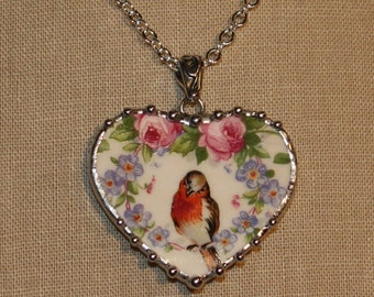 Broken China Jewelry, Handcrafted Robin And Roses, Forget-me-not, Heart Pendant Necklace