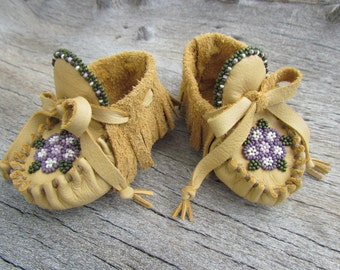 "Baby Moccasins By Desi, ""Flower Garden"", Beaded, Soft Deerskin Leather, 3-6 Months, Soft Soled Shoes, Boho, Hippie, Girl, Boy, Children's"