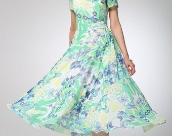 floral maxi dress, Maxi dress women chiffon dress prom dress (1246)