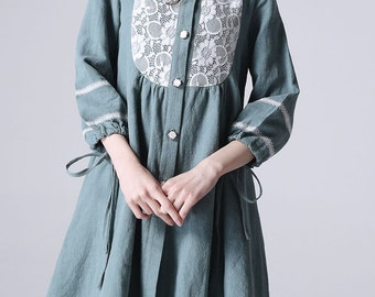 Linen dress mini women cute dress (1184)
