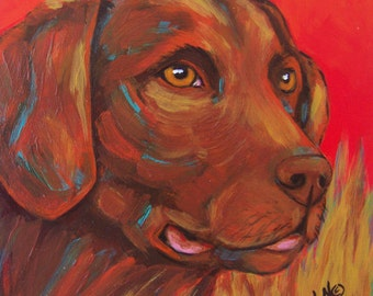Original Dog Art Chocolate Lab on Red Portrait Acrylic Painting