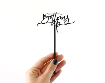 bottoms up acrylic calligraphy cocktail stirrers