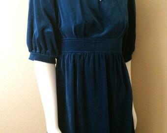 Vintage Women's 70's Lanz Dress, Velvet, Blue, Knee Length (XS/S)