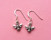 Honey bee / bumble queen bee sterling silver earrings - TierraCast animal charm - Bee jewelry - Nature gift idea - UK seller