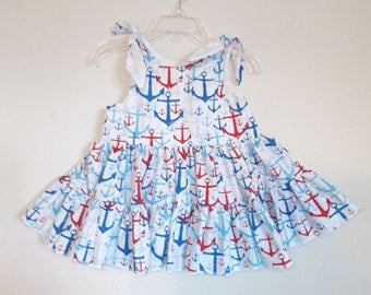 Red White and Blue Anchor Twirly Sundress Dress 4th of July Summer Party Dress, Baby, Infant, Toddlers and Girls Sizes.