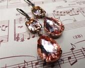 Double Drop Peach Earrings Swarovski Blush Pink Apricot Bride Wedding Bridesmaid Bridal Party Jewelry