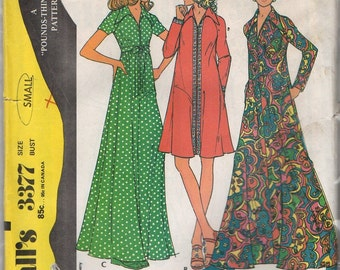 "McCall's #3377  ""Misses' and Women's Dress or Robe"" Size Small (31.5-32.5/24-25/33.5-34.5)"