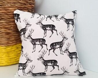 Monochrome Deer Cushion Cover
