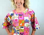 Vintage 60s Awesome Design House Flower Power Garden Neon Pink Smock Apron