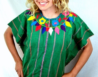 Vintage Woven Guatemalan Ethnic Embroidered Rainbow Huipil Tunic Top