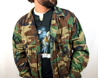Vintage Camo Shirt - Military USA Grunge Camouflage Button Up