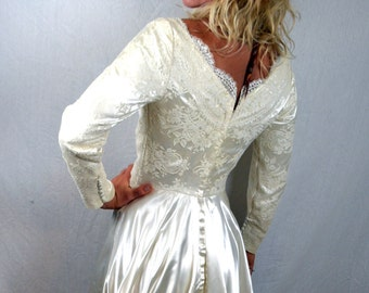 Vintage 1950s Satin Wedding Dress Gown