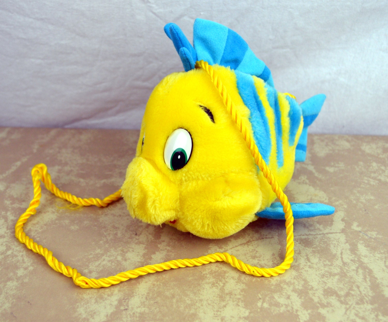 Vintage 90s disney little mermaid flounder fish plush mini for Little mermaid fish