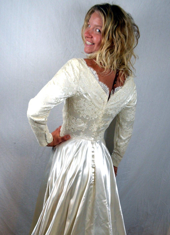 Vintage 1950s Satin Wedding Dress Gown – Haute Juice
