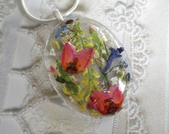 Pink Boronia,Sweet Yellow Clover, Blue Lobelia,Queen Anne's Lace Pressed Flower Oval Domed Glass Pendant-Symbolizes Peace-Gifts 35 & Under