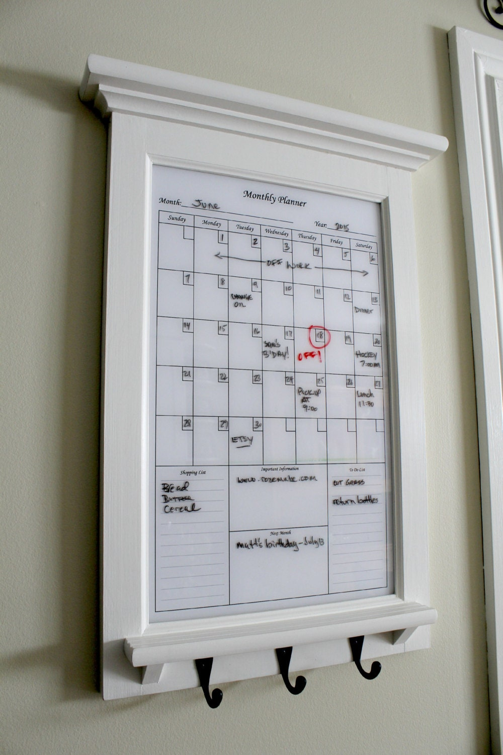 Wall decor white perpetual dry erase calendar family planner for White kitchen wall decor