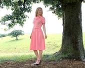 M L Vintage 1960s MOD Summer Dress & Belt Cowl Neck Peach Pink Womens Medium Large 8 10 12 Unique Style