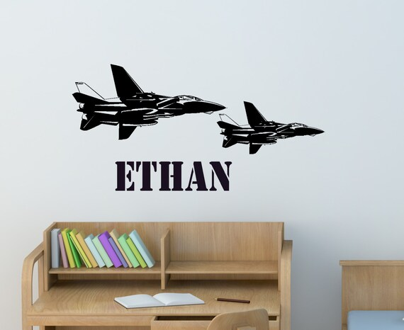 Military decal, Jet fighter sticker, boys bedroom personalized decal, teen room decor, boys name, wall words, 14 X 40 inches