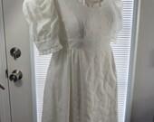 Vintage 1960s 1970s 60s 70s White Eyelet Mini Dress - Xsmall